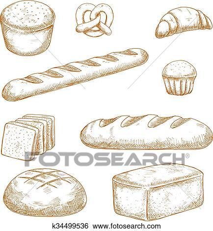 دكان بيع الخبز حلويات أيضا الكعكات المخططات Clip Art K34499536 Fotosearch