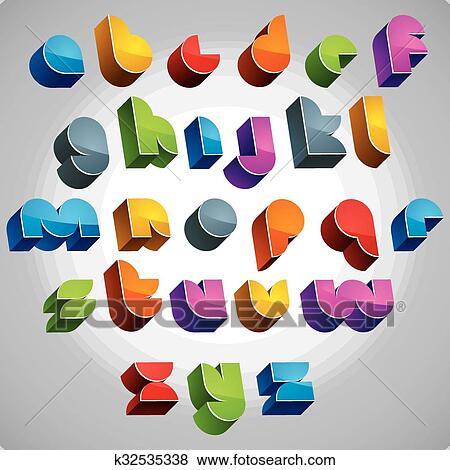 Clipart 3d Futuristisch Lettertype Vector Helder En