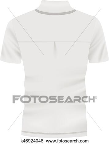 a129f834 Clip Art - Back of white polo shirt mockup, realistic style. Fotosearch