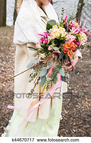 Bright Wedding Rustic Bouquet In Hand Of Bride Stock Photo