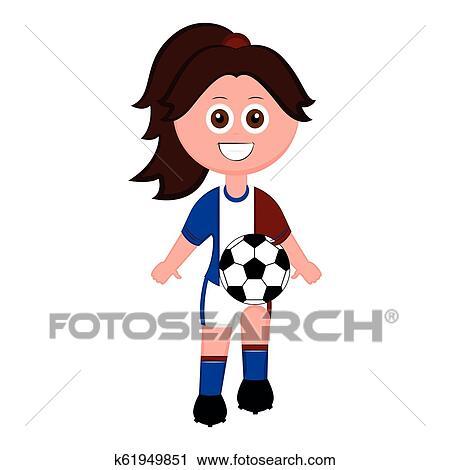 Fussballerin Mit A Fussball Ball Clipart K61949851