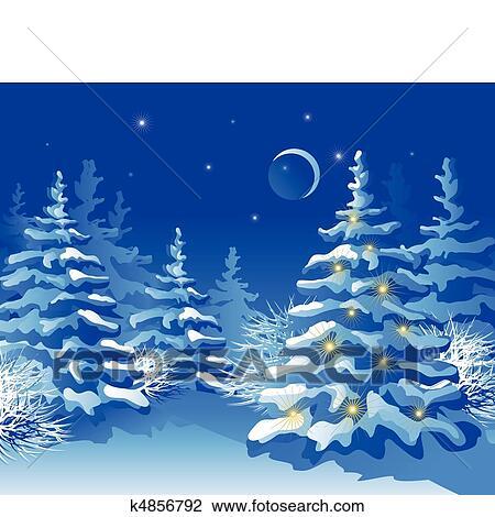 clipart winterbilder weihnachten wald nacht k4856792. Black Bedroom Furniture Sets. Home Design Ideas