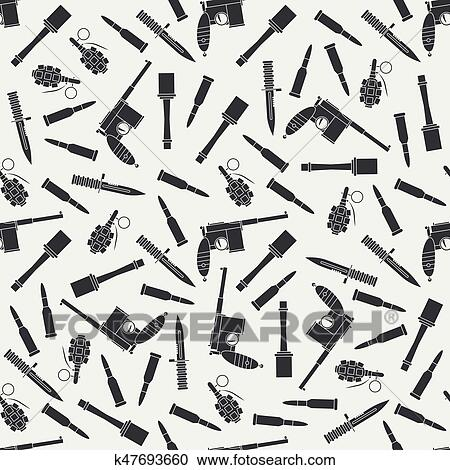 Clipart Of Seamless Flat Pattern With Military Equipment Icons