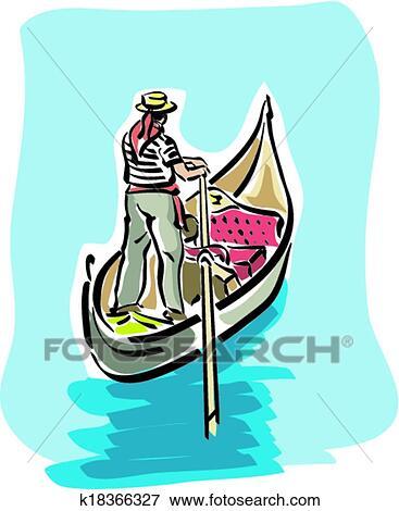 clip art of venetian gondola k18366327 search clipart rh fotosearch com ski gondola clipart gondola clipart black and white