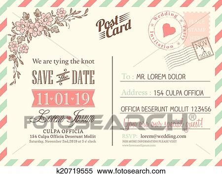 clipart vintage postcard background vector template for wedding invitation fotosearch search clip art