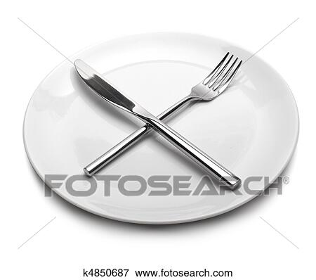 Picture Of White Empty Plate With Fork And Kni K4850687 Search