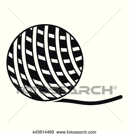 clip art of yarn ball toy for cat icon simple style k43914469