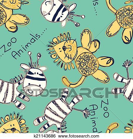 Clip Art - zebra, und, löwe, seamless, muster, mit, stickerei ...
