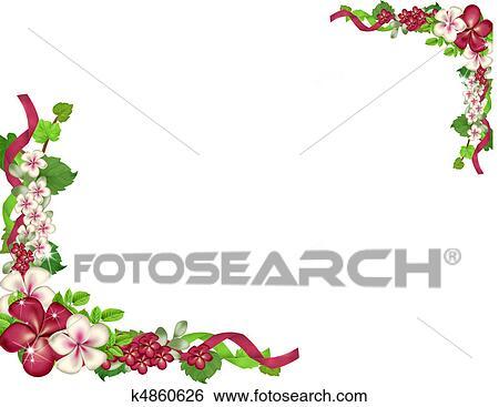 結婚式 花 コーナー そして ボーダー イラスト K4860626 Fotosearch