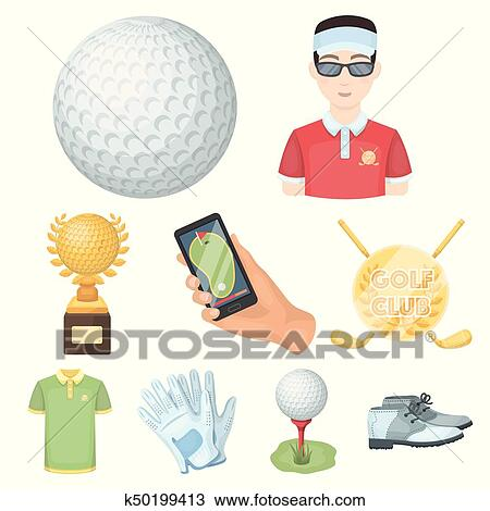 A Golfer A Ball A Club And Other Golf Attributes Golf Club Set Collection Icons In Cartoon Style Vector Symbol Stock Illustration Web Clipart K50199413 Fotosearch