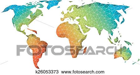 Abstract Low Poly World Map With Colorful Geometric Pattern, Vector