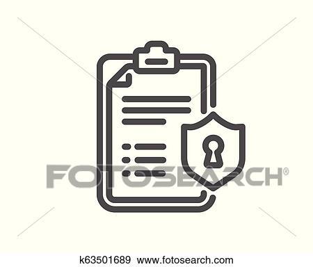 Privacy Policy Clip Art >> Checklist Line Icon Privacy Policy Document Sign Vector Clip Art