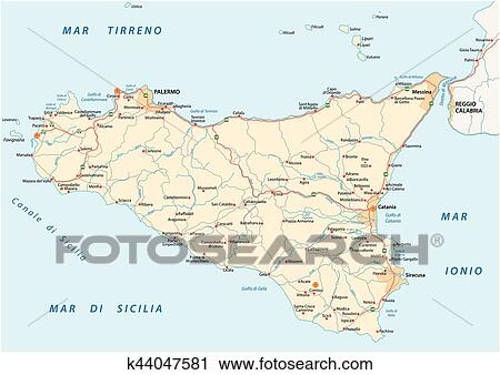 Detailed vector road map of island sicily italy Clipart ...