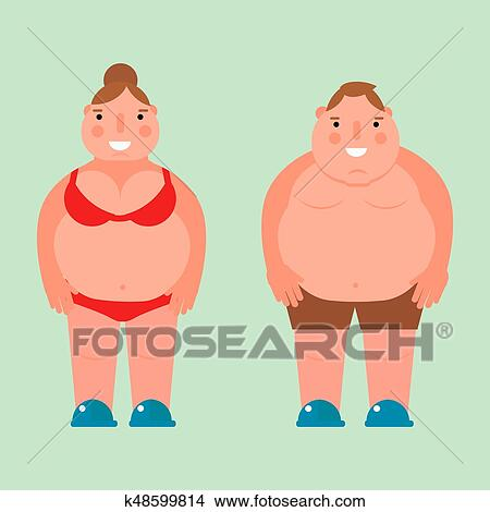 a3f4632b7 Fat woman vector flat illustration overweight body man person unhealthy big  belly character. Caucasian fatness figure ugly female stomach design adult  girl ...