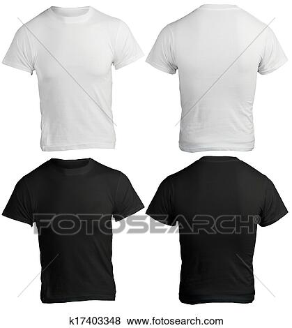 Pictures Of Mens Blank Black And White Shirt Template K17403348