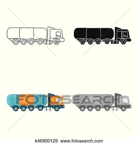 Clip Art Of Oil Tank Trucker Icon In Cartoon Style Isolated On White