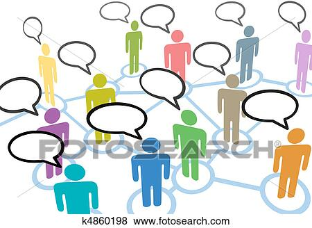 clip art of people talk social speech communication network rh fotosearch com network clipart library network clipart for powerpoint