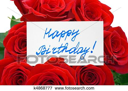 foto rosas e cartão feliz aniversário k4868777 busca de