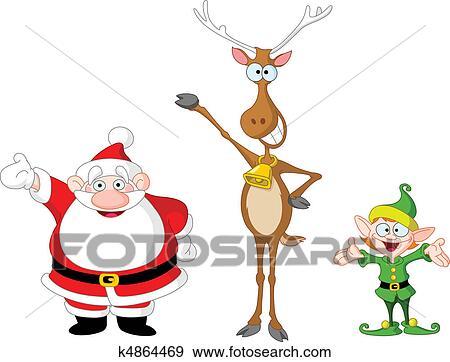 Clip Art of Santa rudolph elf k4864469 - Search Clipart ...