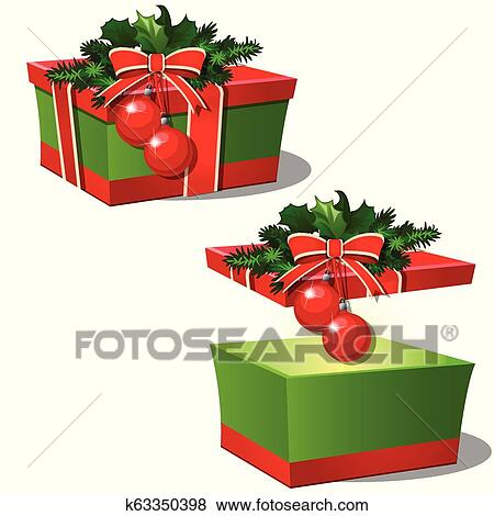 Set Of Ornate Gift Boxes With Red Lid Tied With Ribbon Bow