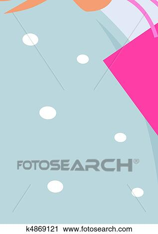 f6878de516f1 Attraente, biondo, ragazza, con, rosa, borse da spesa, su, shopping.,  vettore, illustration.