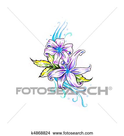 Stock Photo Of Sketch Of Tattoo Art Rose And Tribal Forms K4868824