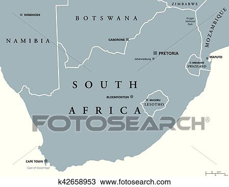 Clipart Of South Africa Political Map K42658953 Search Clip Art