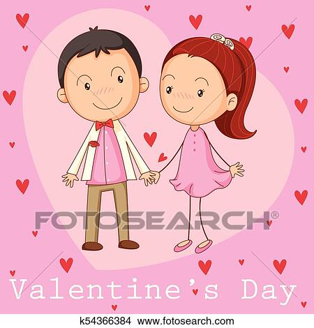 Valentine Card Template With Boyfriend And Girlfriend Clipart