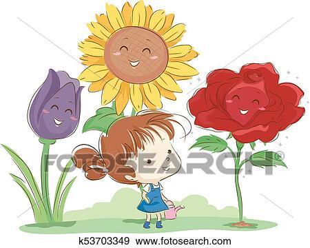 子供 女の子 庭師 花 イラスト クリップアート K53703349 Fotosearch