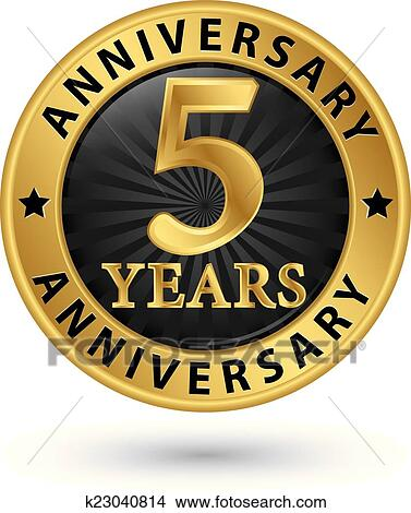 Clipart Of 5 Years Anniversary Gold Label Vector Illustration