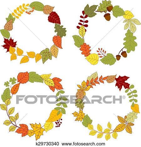 Autumn leaves wreaths with acorns and berries Clipart ...