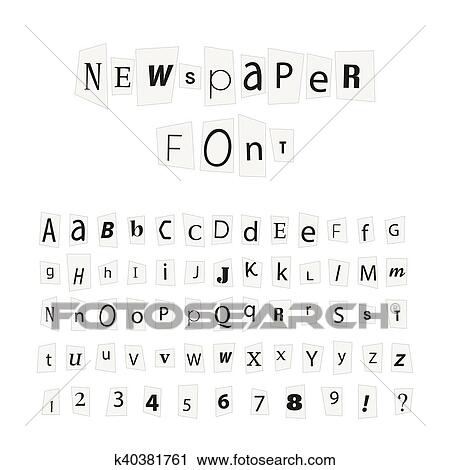 Black newspaper letters font, latin alphabet signs isolated on white Clipart