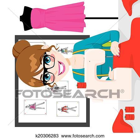 Couturi re femme utilisation machine coudre clipart k20306283 fotosearch - Dessin couturiere ...