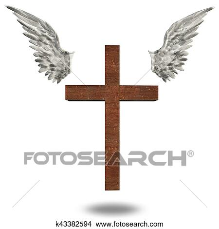 Drawings Of Cross With Wings K43382594