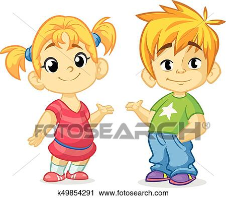 Clipart of cute cartoon boy and girl with hands up vector boy and girl greeting design kids summer dress children vector casual style dressed children blond brother and sister presenting m4hsunfo