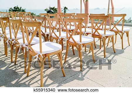 Astounding Folding Lawn Chair With White Seat Beach Wedding Venue Stock Image Uwap Interior Chair Design Uwaporg