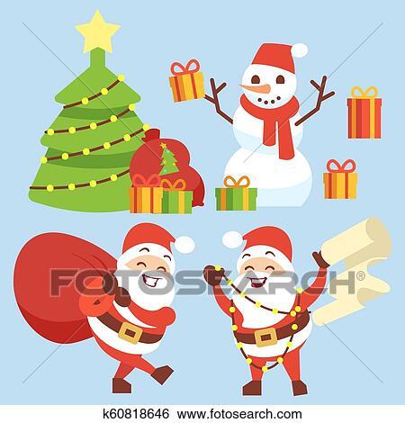 Happy Santa Claus Flat Character With Gift Bag Snowman Christmas
