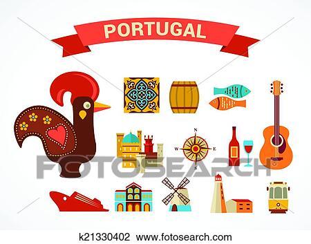 Clipart portugal ensemble de vecteur ic nes - Dessin portugal ...