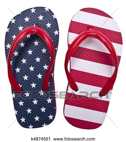 Patriotic Red White and Blue Flip Flop