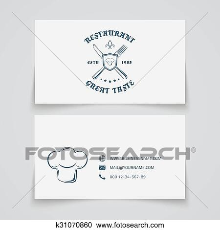 Clipart of restaurant business card template k31070860 search business card template with logo for restaurant cafe bar or fast food vector illustration wajeb Image collections