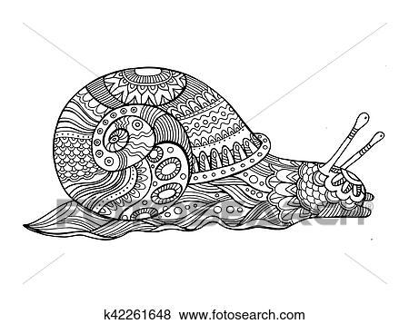 Clip Art - schnecke, ausmalbilder, für, erwachsene, vektor k42261648 ...