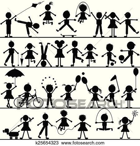 Clipart Stilizzato Mano Disegnato Bambini Giocando K25654323