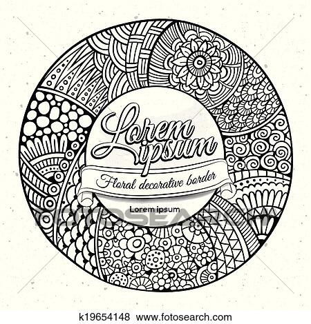 Clip Art of Vector decorative hand drawn circle frame k19654148 ...