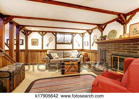 Stock Foto - warme, rustikal, möbliert, wohnzimmer, mit, a ...