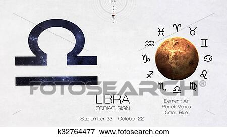 Zodiac sign - Libra  Cool astrologic infographics  Elements of this image  furnished by NASA Stock Photo
