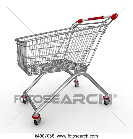 stock illustration of 3d shopping push cart k4887058 search eps