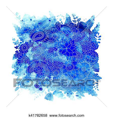 Coleccion De Ilustraciones Acuarela Flores Azules K41782658