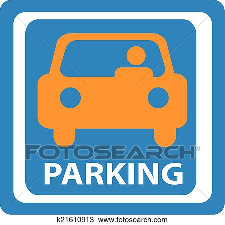 clipart of car parking sign vector illustrati k21610913 search rh fotosearch com parking clip art funny parking clip art black and white