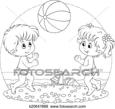 Clip Art Of Children Play A Ball K20647888
