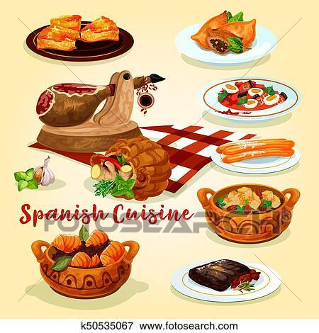 Cuisine Espagnole   Clipart Cuisine Espagnole National Plats Affiche K50535067